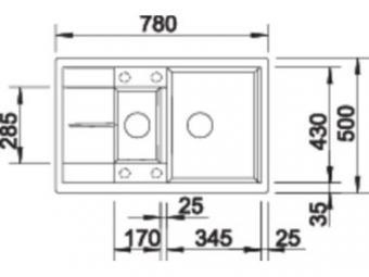Blanco Metra 6 S Compact gránit mosogatótál - kávé